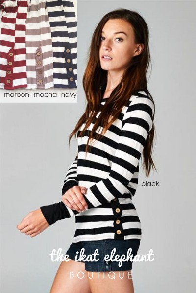 MA Stripe Button Tee