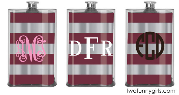 Personalized-Aggie-Maroon-Striped-Flask-Custom-with-Monogram