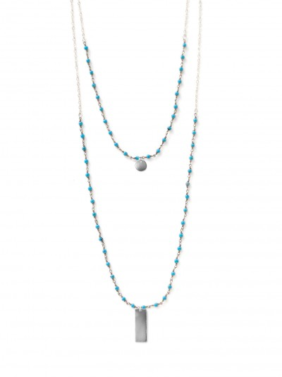 2-layer-rosary-with-stamping-option-silver-chain-turquoise-small-tag-(one-letter)-short-bar-(three-letters)